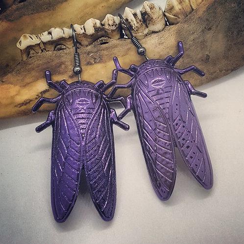 Large Purple Cicada Earrings