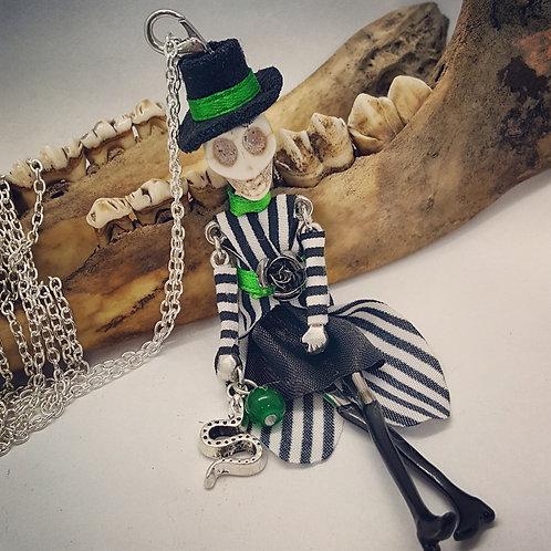 Beetlejuice Style Skeleton on Long Chain