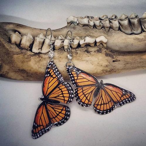 Monarch Replica Earrings with Rhinestones