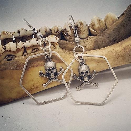Silver Plated Skull & Crossbones Earrings