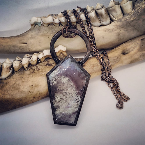 """Electroformed Moss Agate Coffin on 22"""" Chain"""