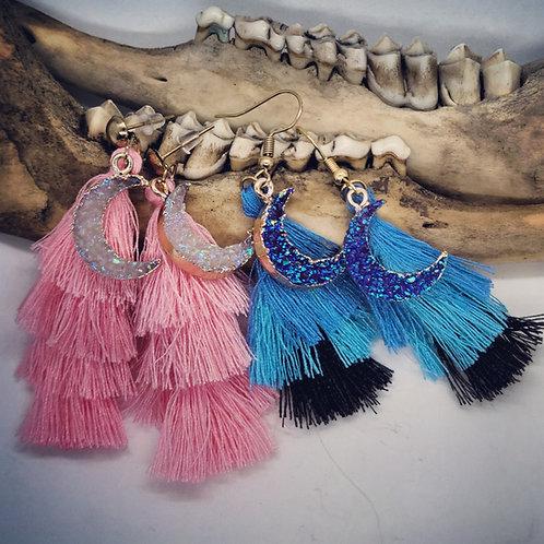 Druzy Moon & Tassel Earrings