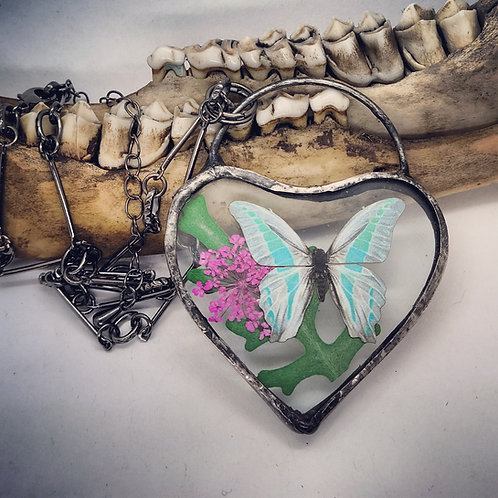 """Soldered Glass Heart with Butterfly Replica on 18"""" Chain"""