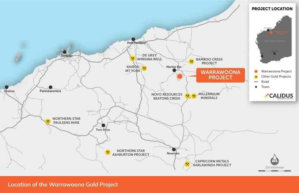 Image showing Location of the Warrawoona Gold Project. Samso Insight