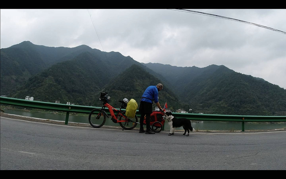 Paws for a rest with several pairs of dog shoes worn out. Talisker's travels around China featured on Brilliant-Online