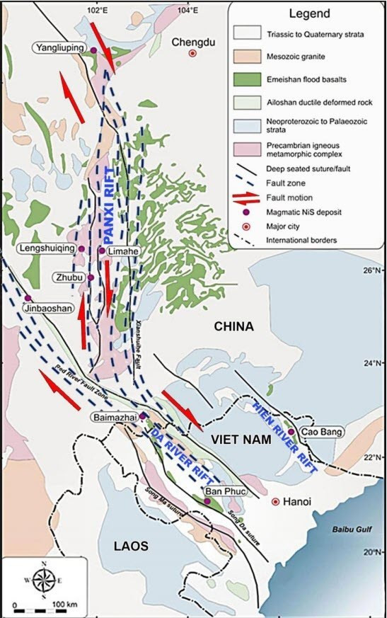 Figure 1: Mineralised Belts that have defined the northern part of Vietnam and the Yunnan Province in southern China. (source: Blackstone Minerals)