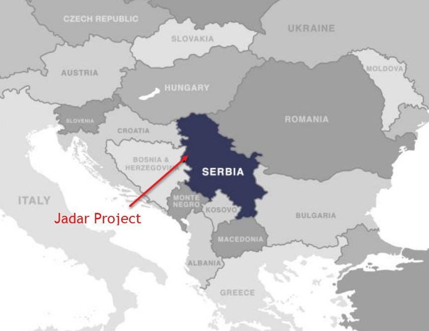 Map showing Location of the Jadar project in Serbia. Samso Insights.