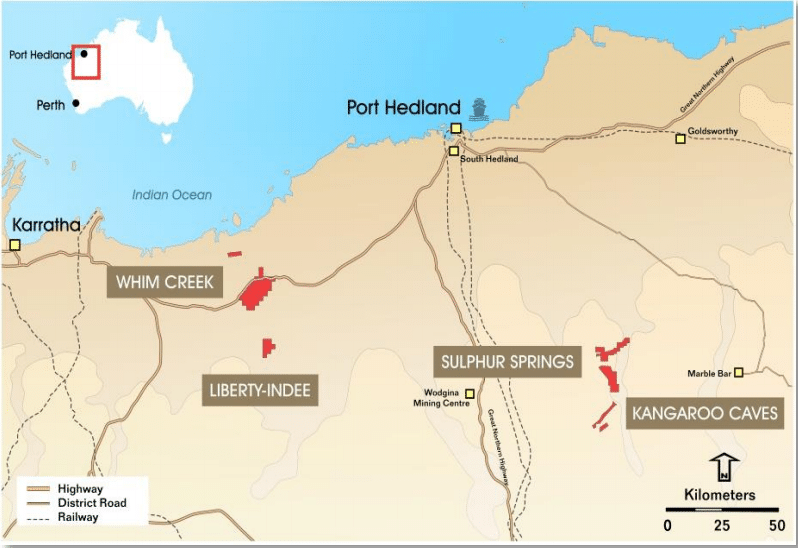 Location of the Sulphur Springs Cu-Zn Project (source:  Venturex Resources Limited)