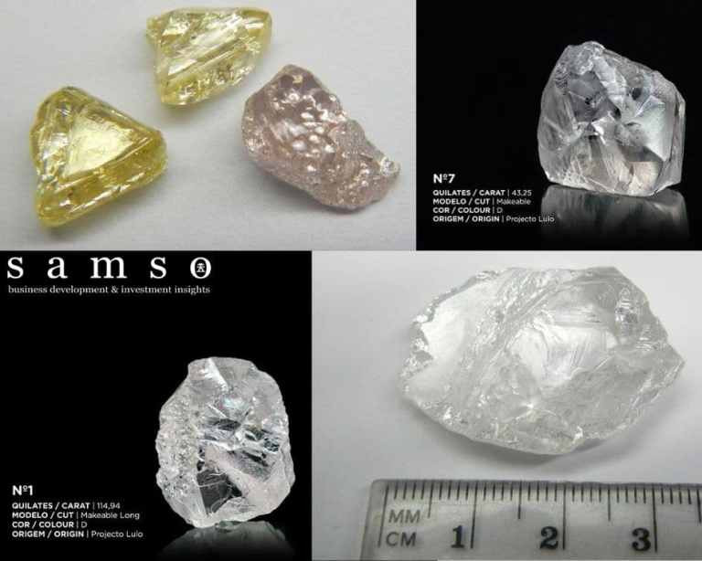 A collage of Lucapa Diamonds. Samso Insights