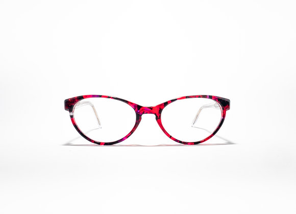 Trinity Female Australian made spectacle frame in Red, black and crystal at Optex Australia Eyewear (front view)