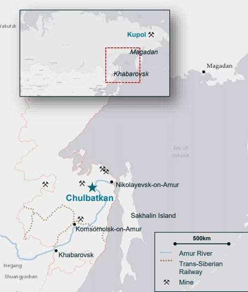 Map showing Chulbatkan Mine location. (source: Kinross Gold). Samso Insights