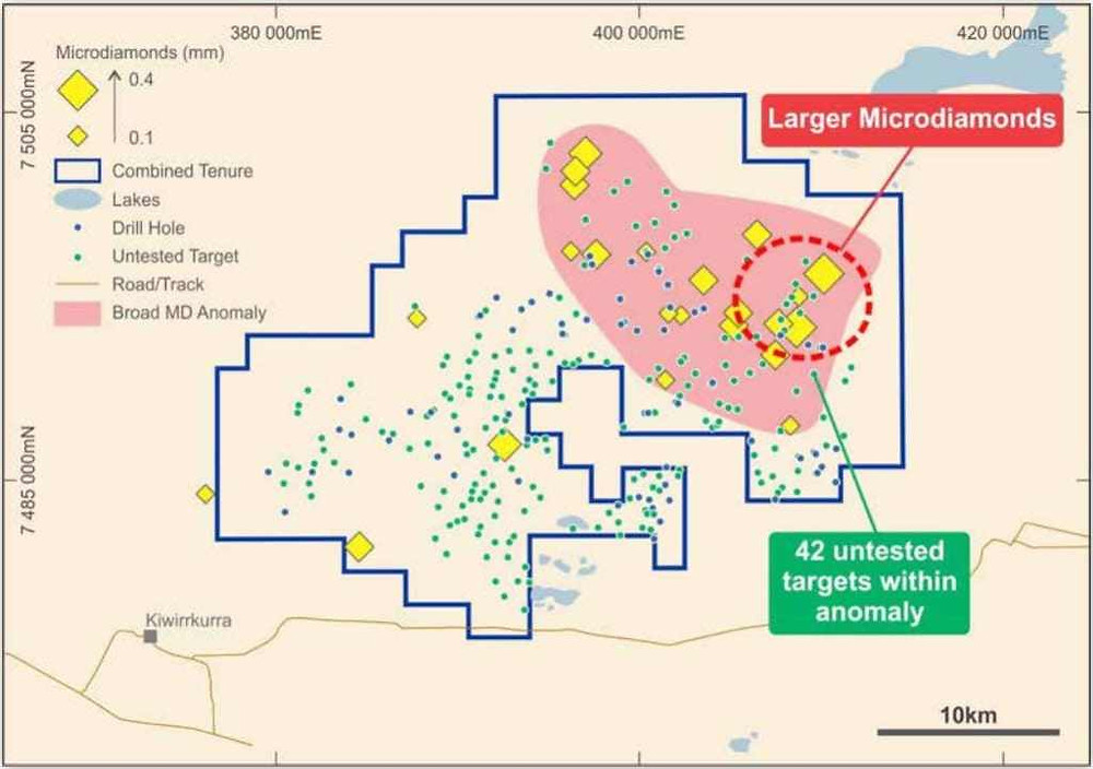 Figure 2: Microdiamond field and untested magnetic targets in the Webb Project. (Source: Geocrystal Limited IPO Prospectus) Samso Insights.