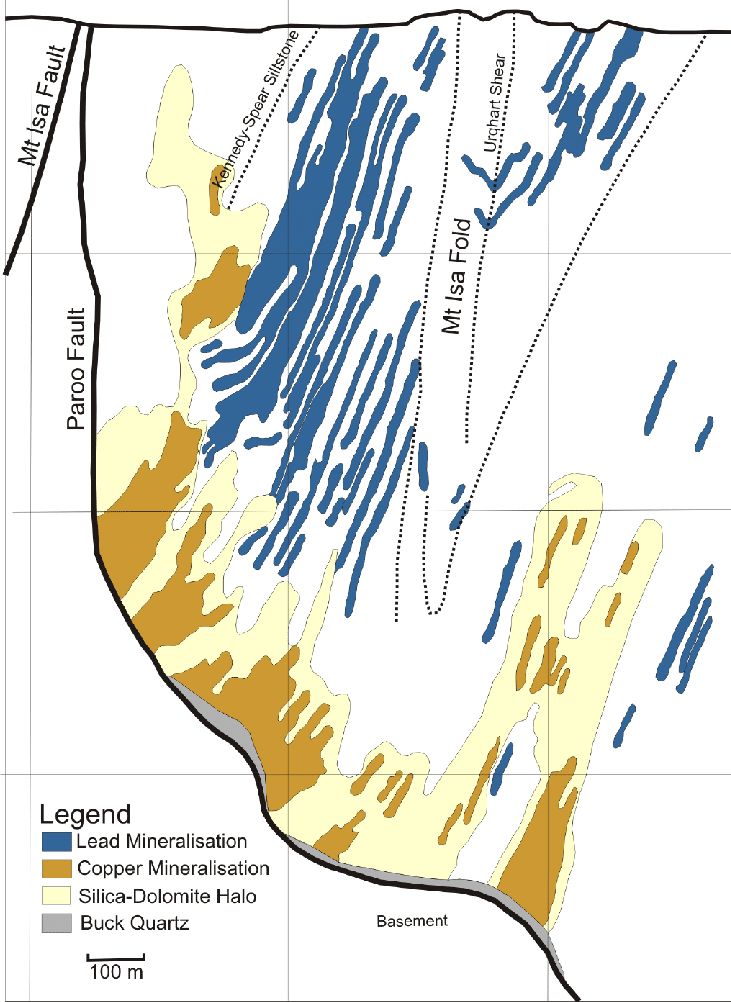 Figure 4: A typical east-west cross-section showing the Urquhart shale sequence juxtaposed against the older Eastern Creek Volcanics under the Paroo Fault. Note the discrete nature of the copper and lead-zinc ore.  (source: Geomechanical Modelling of the Mount Isa Copper Deposit – Predicting Mineralisation – Scientific Figure on ResearchGate.