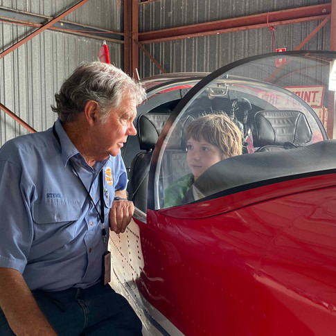 Steve speaking with a young keen aviator