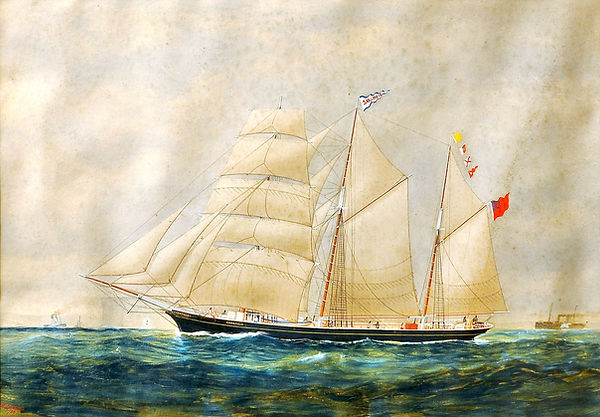 The water colour painting of old vessel by W Foster