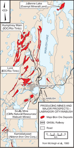 Map showing the distribution of metataconite deposits in the Labrador City–Wabush area (adapted from McVeigh et al., 1980). IOC=Iron Ore Company of Canada