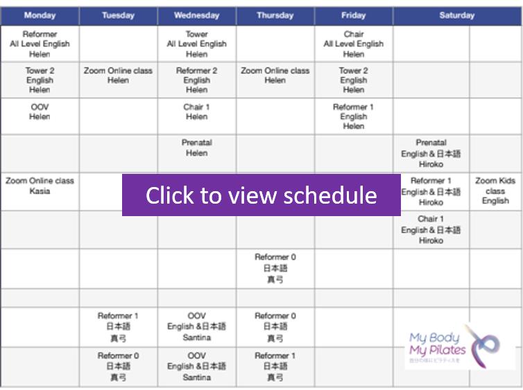 June Online and Studio Pilates schedule | My Body My Pilates