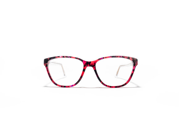 Mermaid Australian made Spectacle Frames in Red Black and Crystal by Optex Australia Eyewear (front view)