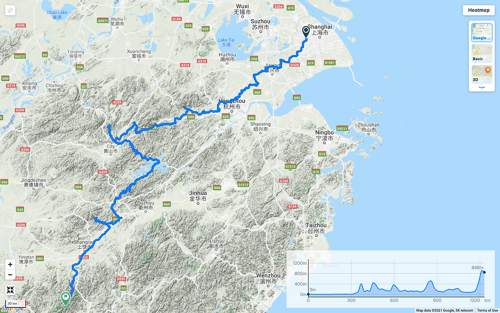Map of Adam Hyslop and Talisker's bicycle 1200km Trip in China