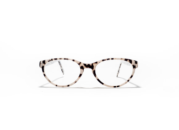 Trinity Female Australian made spectacle frame in leopard at Optex Australia Eyewear (front view)