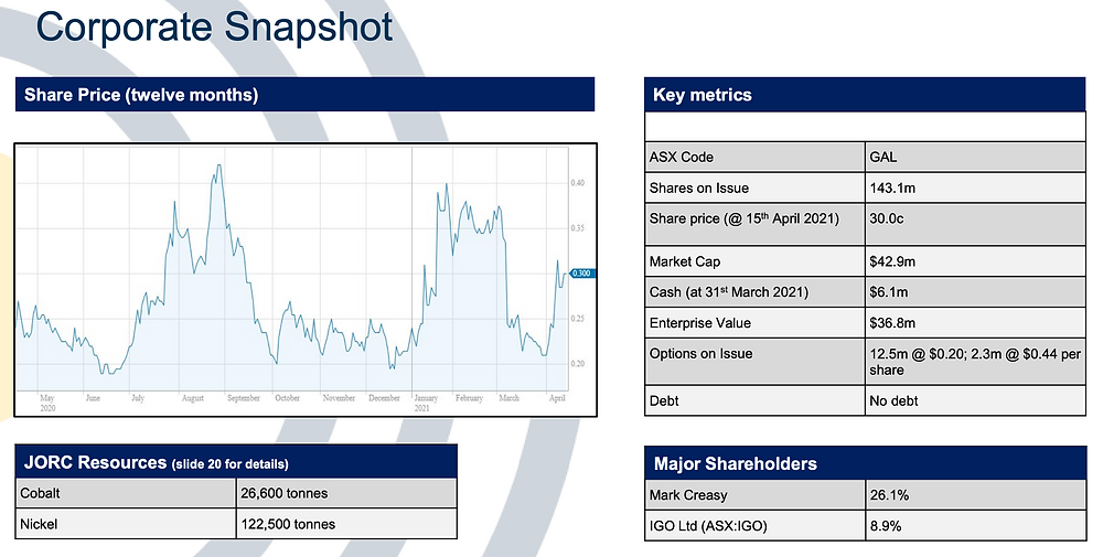 Galileo Mining Corporate Snapshot