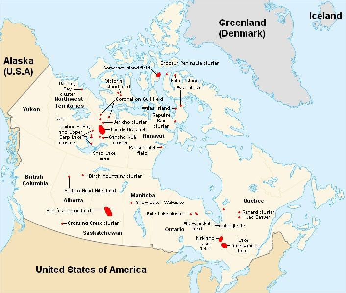 Map of Canadian Kimberlite locations. Samso Insights