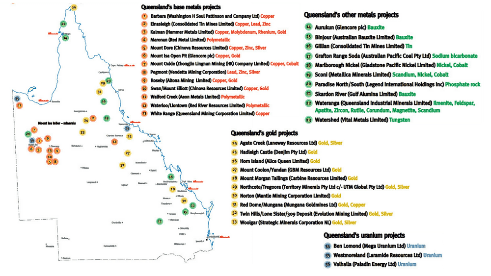 Map of Queensland's significant mineral mines | Samso