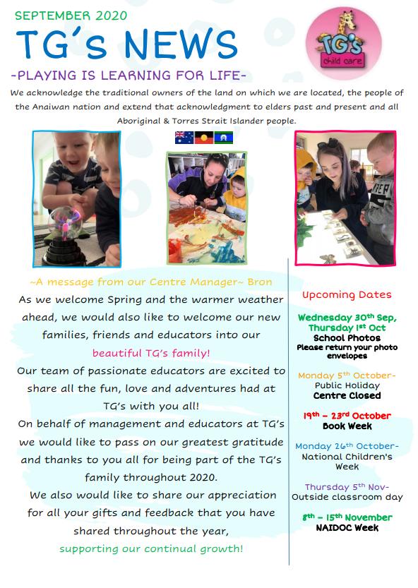 Cover image of TG's Uralla's September Newsletter
