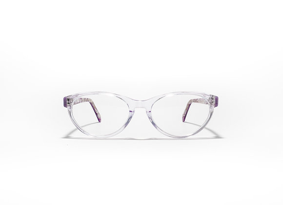 Trinity Female Australian made spectacle frame in purple marble at Optex Australia Eyewear (front view)