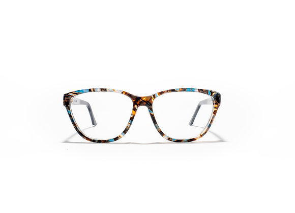 Mermaid Australian made Spectacle Frames in Blue/Bronze by Optex Australia Eyewear (front view)