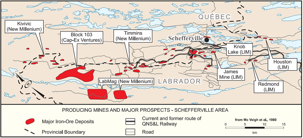 Map showingthe distribution of DSO and taconite deposits in the Schefferville area (adapted from McVeigh et al., 1980). LIM=Labrador Iron Mines.