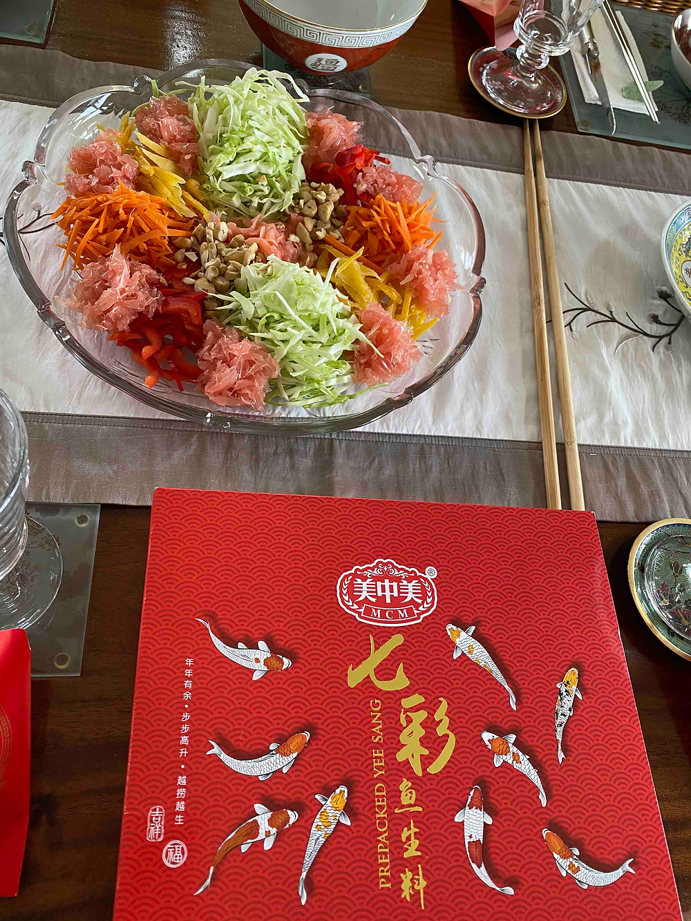 Yusheng, a salad dish to toss for good fortune, lo hei