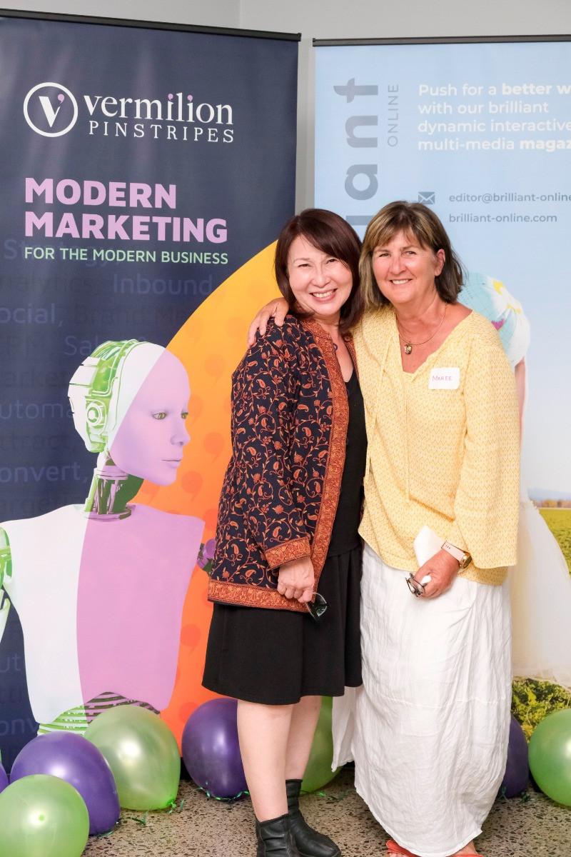 Veronica Lind, CEO Brilliant-Online with Maree Kelaher, Owner of DiggerBit at Brilliant Shower