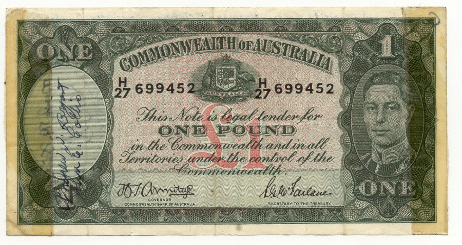 Australian One Pound Note Autographed during Bob Hopes Tour of the South Pacific