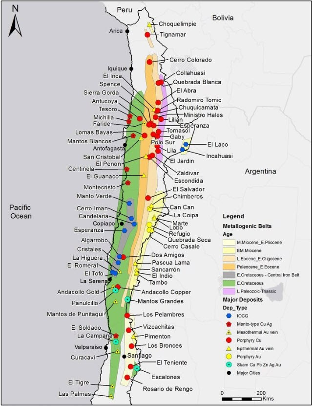 Figure 1:  Locations of significant Chilean porphyry deposits in Northern Chile. (source: www.kuraminerals.com)