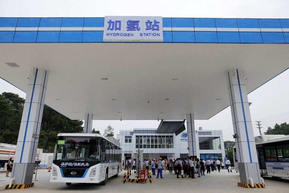 A bus recharges at a hydrogen station in Foshan, Guangdong province. [Photo by Zheng Junbin / for China Daily]. Samso Insights.