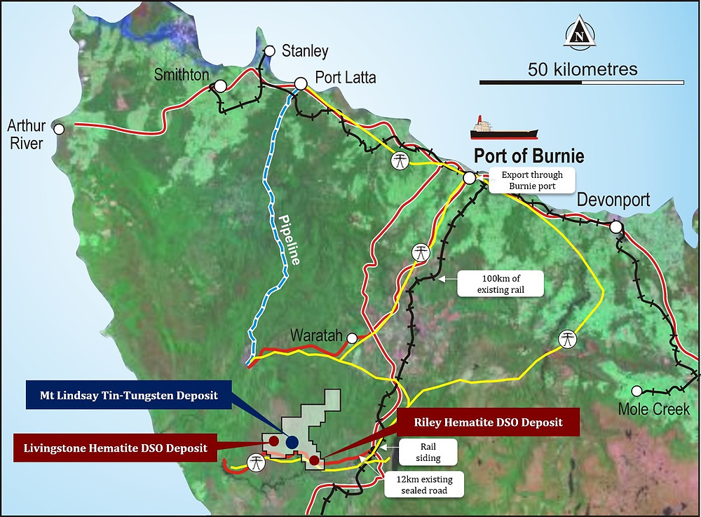 The Mt Lindsay Project (148 km2) is located in north-western Tasmania