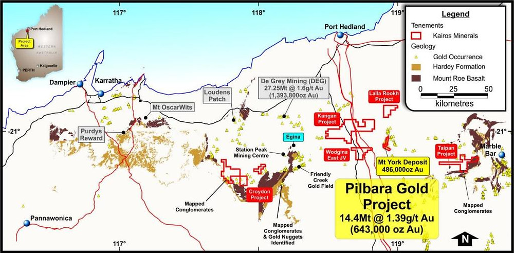 Location of the Kairos Gold Projects (source: Kairos Minerals Limited). Samso Insights