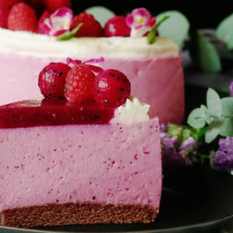 Cheesecake made with Red Dragon Fruit powder