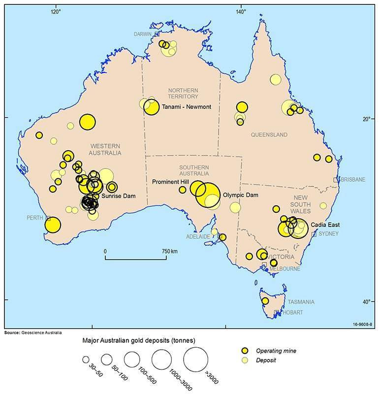 Map showing Significant Gold Deposits in Australia, 2016. Samso Insights
