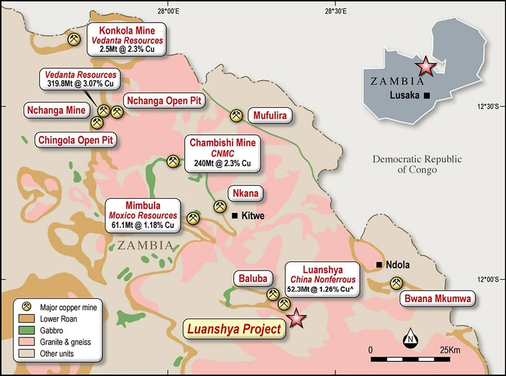 Luanshya Project – Underlying Geology, Mines and Deposits  (Source: Source: CCZ ASX Release – 10 July 2019; CNMC2; USGS3; Zambia Ministry of Mines & Mineral Development5; Moxico Resources plc)