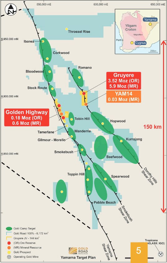 Figure 2 : Gold Road Resources Yamana Project and Gold Endowment. (source: http://www.goldroad.com.au/media/2018/07/5b513be36926f879697038.pdf)