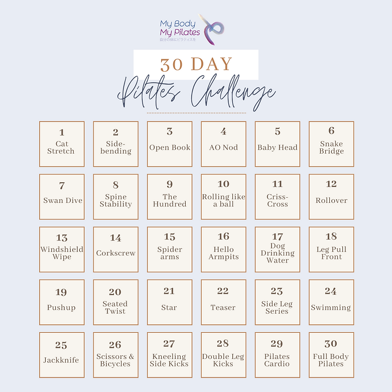 30-Day Pilates Challenge Full Calendar M