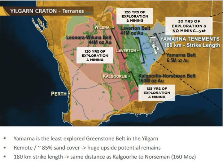 Figure 1 : Comparisons of the Greenstone Belts in the Yilgarn Craton. (source: http://www.goldroad.com.au/media/2018/07/5b513be36926f879697038.pdf)