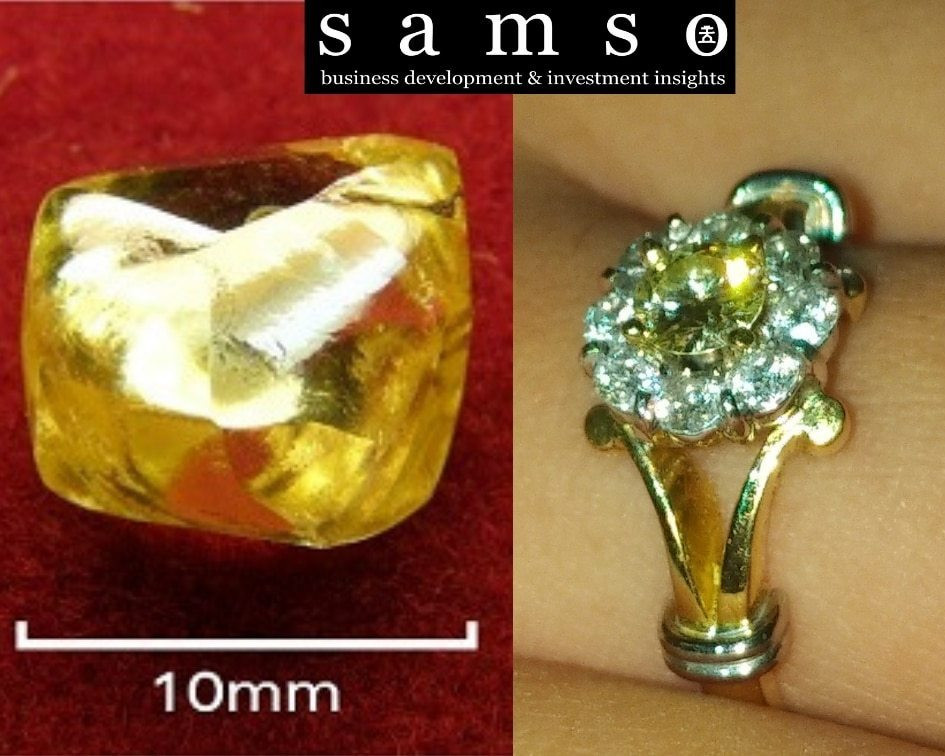 Photo showing different fancy yellow diamonds. Samso Insights.