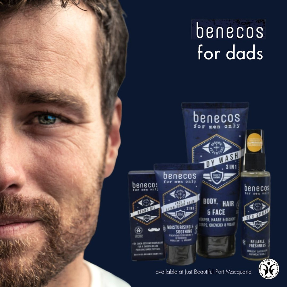 Benecos is good for Dads. So this is the perfect gift for Fathers Day. Available at Just Beautiful.