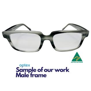 Optex sample of our work, male eyewear