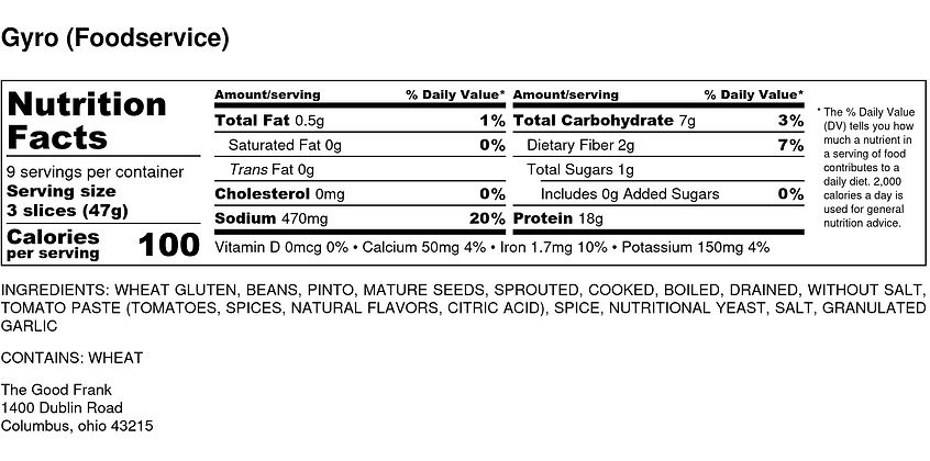 Gyro (Foodservice) - Nutrition Label(3).