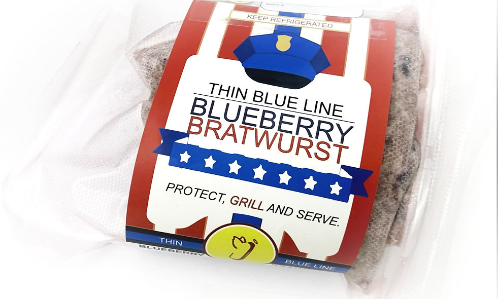 "6 Pk - ""A THIN BLUE LINE""  BLUEBERRY BRATWURST"