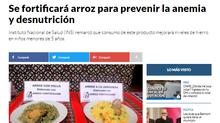 SE FORTIFICARÁ ARROZ PARA PREVENIR LA ANEMIA Y DESNUTRICIÓN